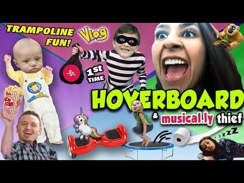 HOVERBOARD 1st TIMER w  Mom & Uncle Crusher Trampoline Fun Musical ly Thief FUNnel V Fam Vlog