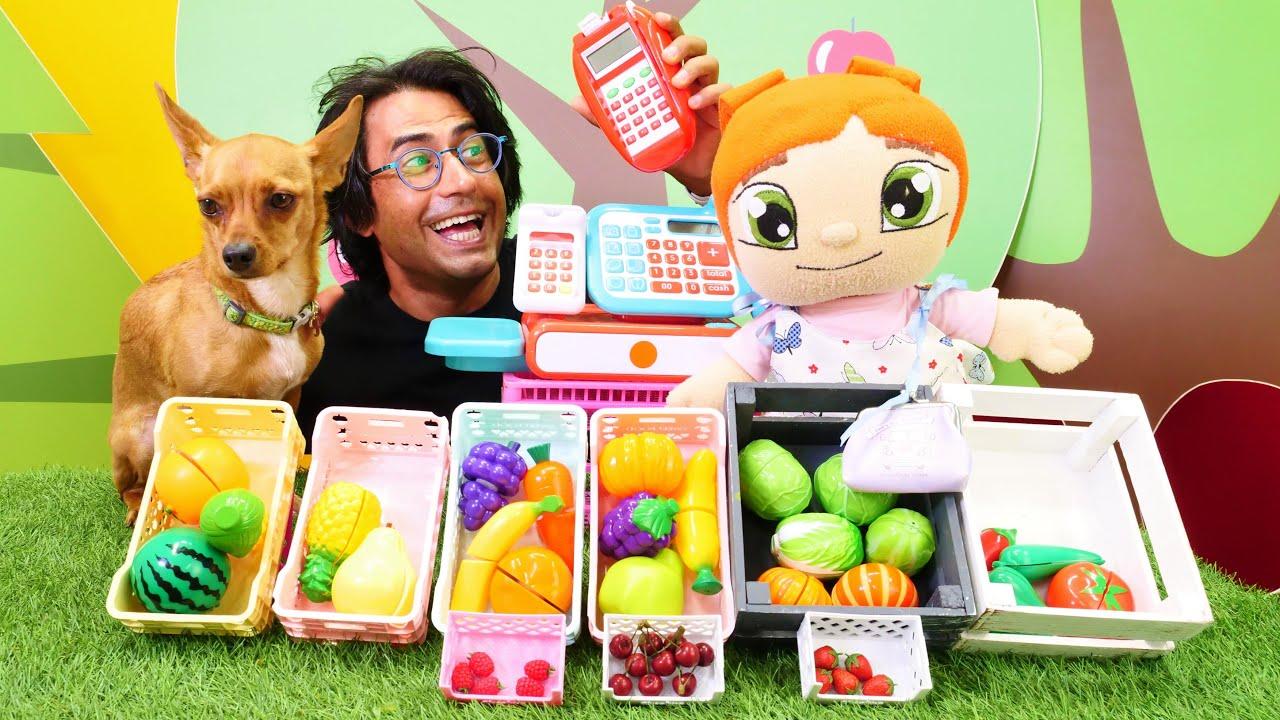 Oyuncak Lili manava gidiyor. Manavcılık oyunu. Sebze ve meyve öğreniyoruz