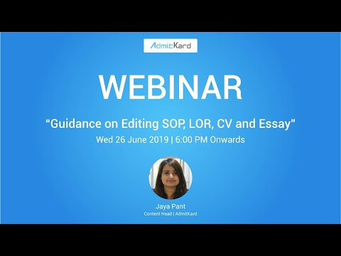 Guide on Editing SOP, LOR , CV and Essay