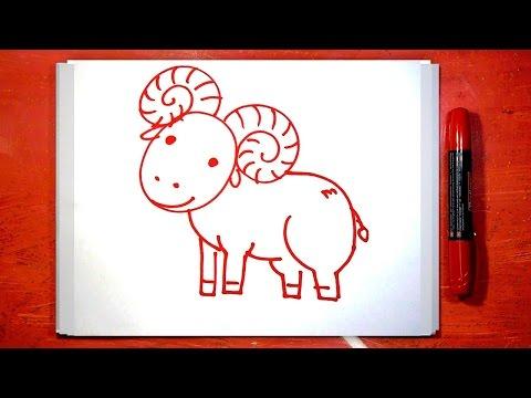 Как нарисовать Барана, Урок рисования красным маркером
