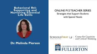 K12 Online Teaching Webinars: Behavioral Response to Intervention