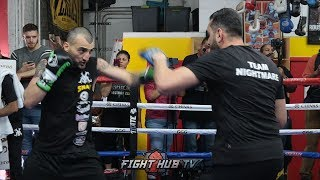 FULL VANES MARTIROSYAN MITTS WORKOUT FOR GENNADY GOLOVKIN FIGHT