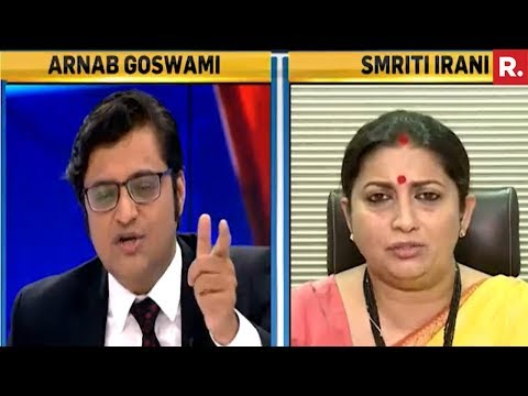 Smriti Irani Speaks Exclusively To Arnab Goswami - Full Interview