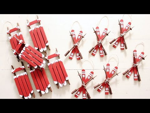 Day 8 | DIY Sled and Ski Ornaments