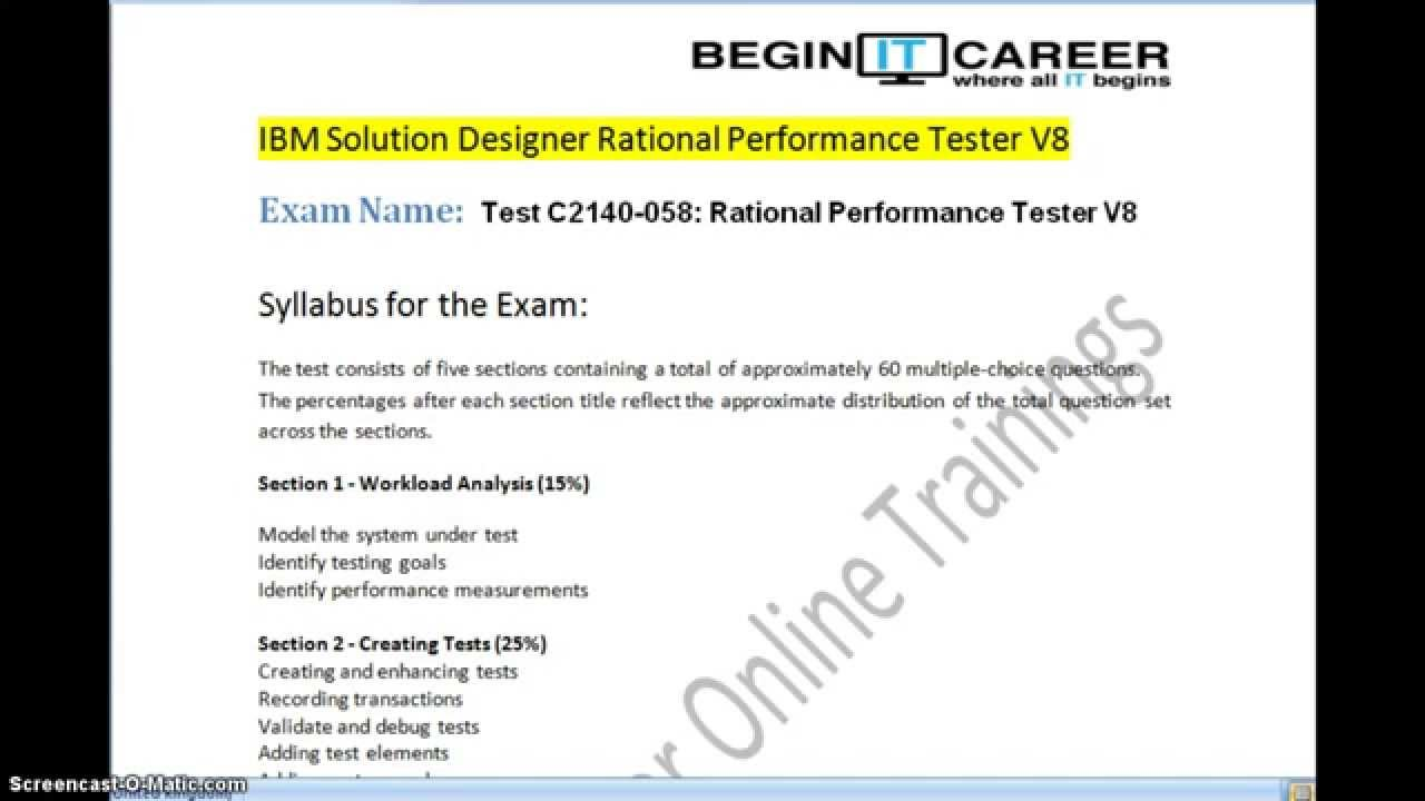 IBM RPT Certification C2140-058 Rational Performance Tester V8 IBM SOLUTION  DESIGNER RPT V8
