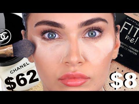 $62 Luxury Chanel Powder Vs $8 Maybelline Drugstore Powder + 10HR Wear Test | Ruby Golani