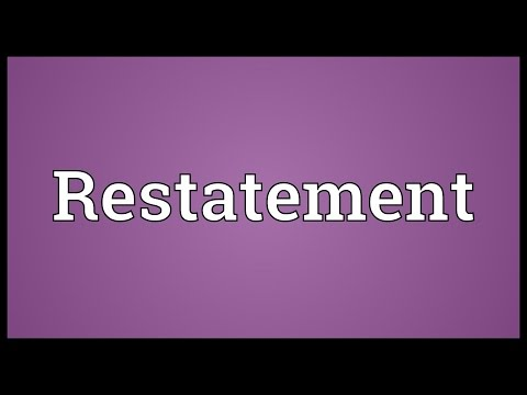 Restatement Meaning