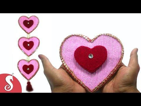 DIY Heart Shape Woolen Wall Hanging Design for Home Decore