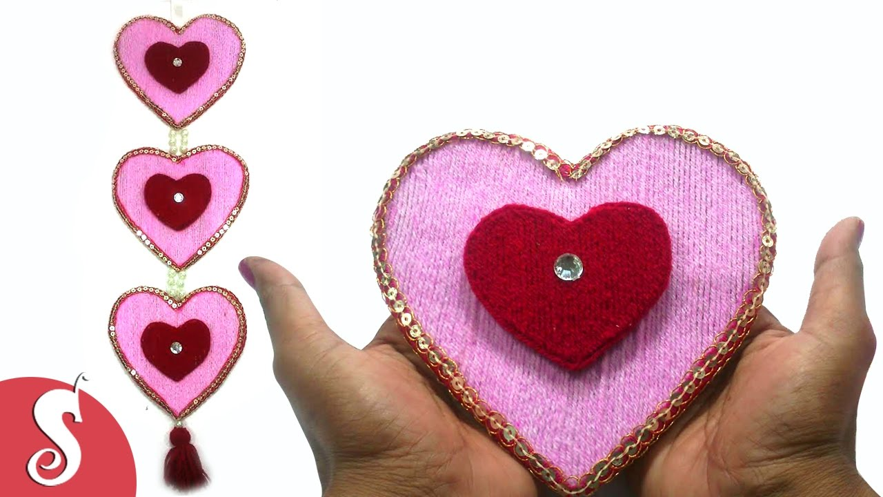 DIY Heart Shape Woolen Wall Hanging Design for Home Decore YouTube
