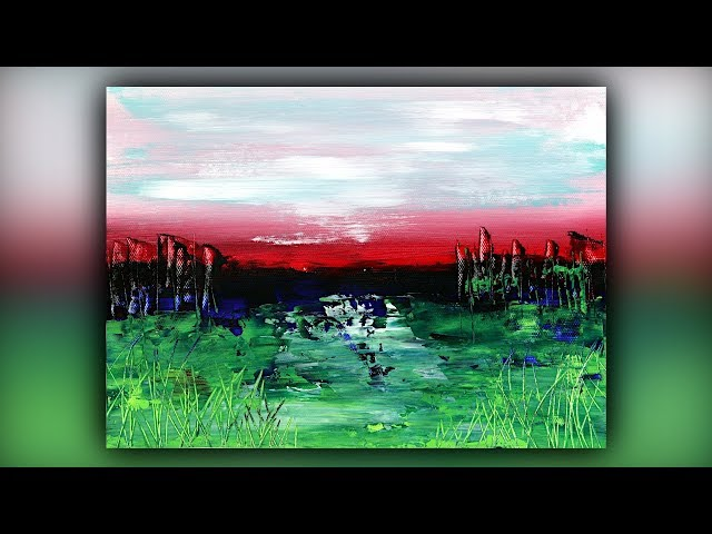 Easy Abstract Landscape Painting / Acrylics / Palette Knife / Demo #090