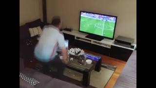 Wife turns off tv while husband watching Soccer (prank)