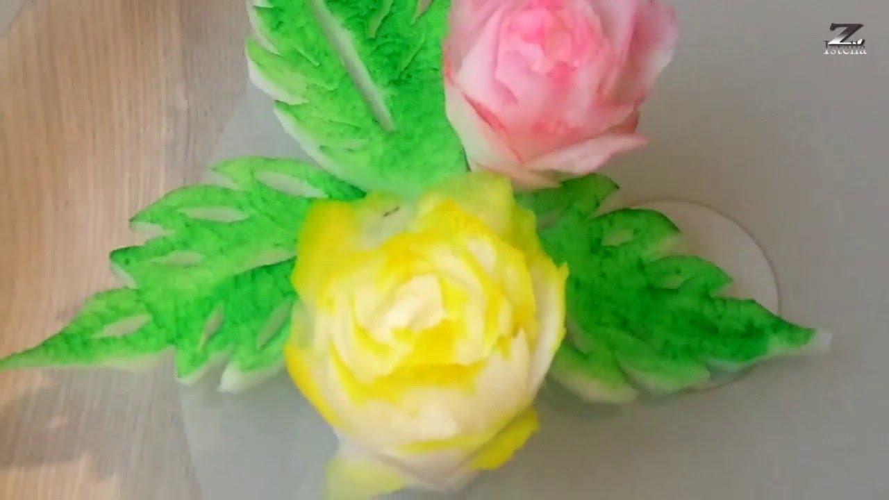 Rettich Rosen- How to make Radish rose by Zoltan Istella (Obst und ...