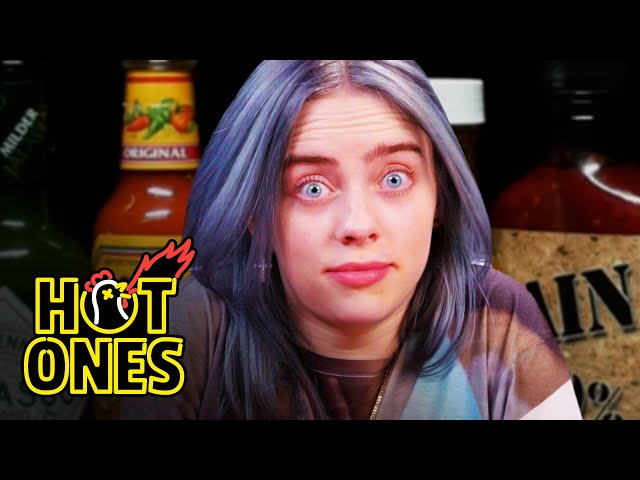 Billie Eilish Freaks Out While Eating Spicy Wings   Hot Ones