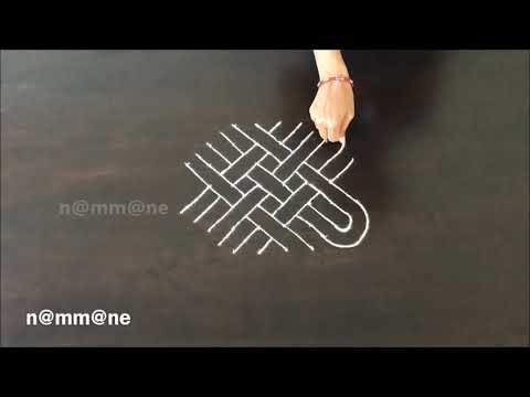 Chukki Rangoli Design || Padi kolam with dots || Easy Simple and Fast