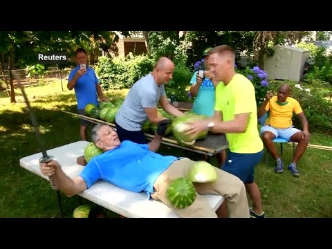 Man Slices Watermelons On Stomach To Set New Guinness World Record