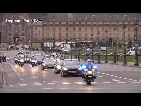 Video:Police escort the convoy of the Djibouti President to Paris.