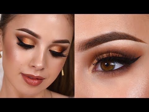 GLAM GRWM / Gold Shimmery Smokey Eye Makeup Tutorial thumbnail