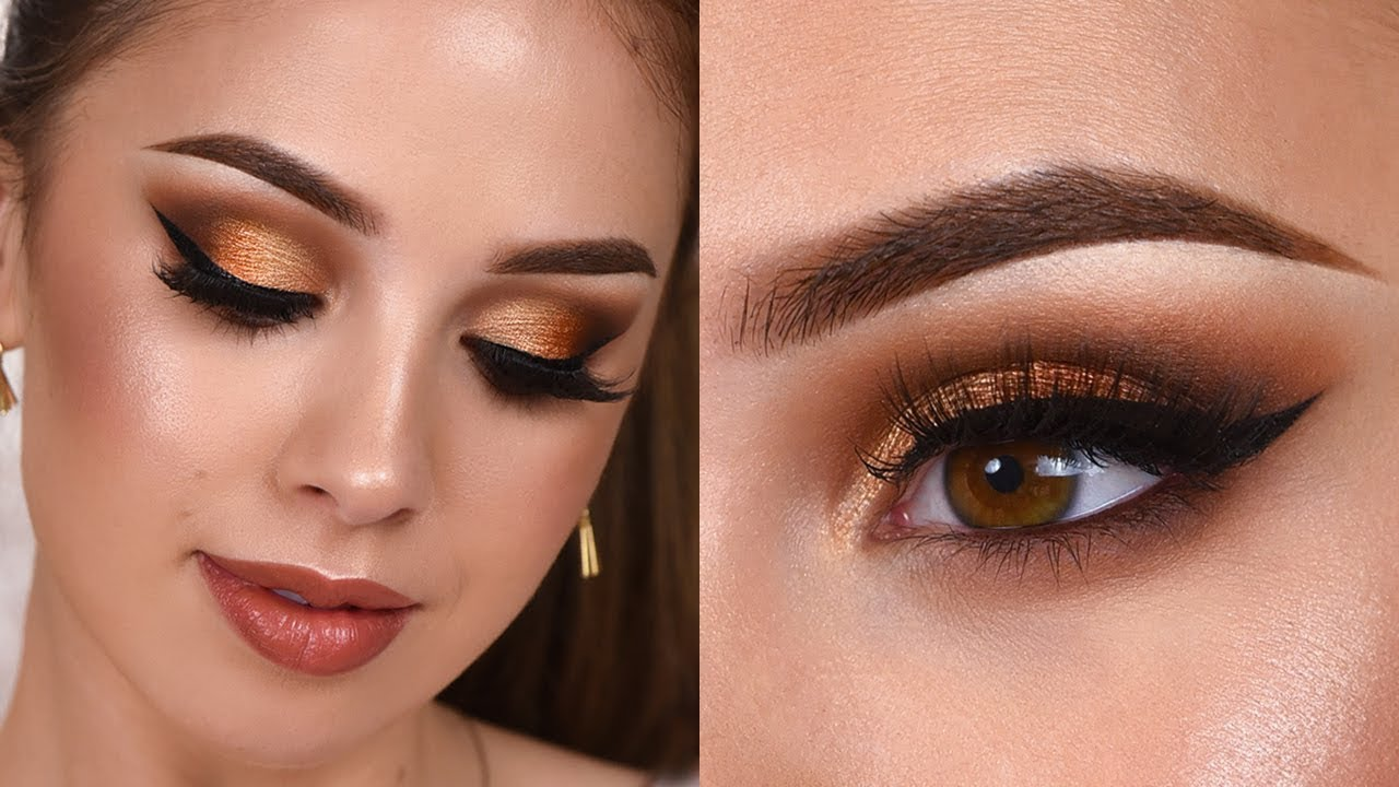 glam grwm / gold shimmery smokey eye makeup tutorial