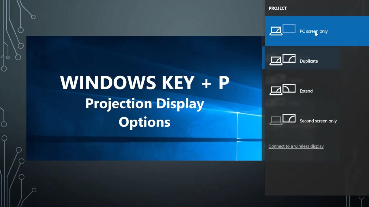Windows Key P Projection Options