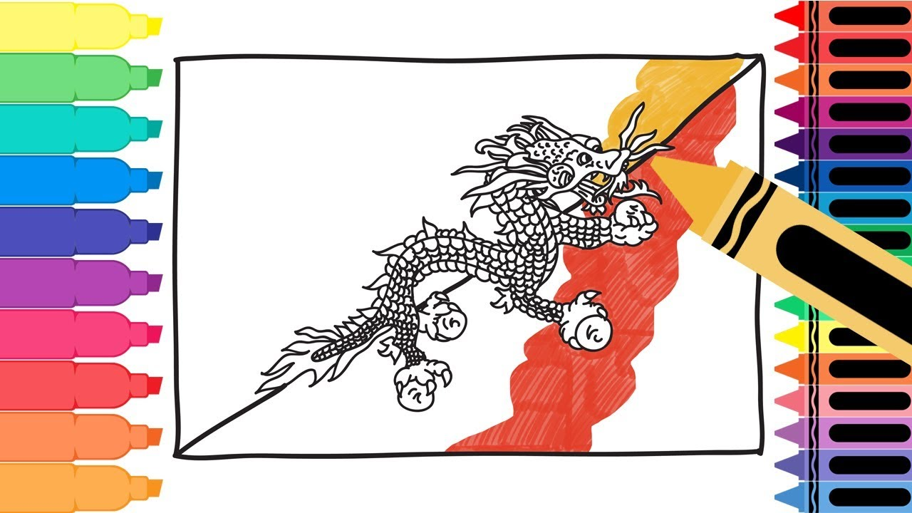 how to draw bhutan flag drawing the bhutanese flag coloring