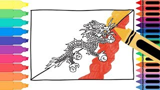 How to Draw Bhutan Flag - Drawing the Bhutanese Flag - Coloring Pages for kids | Tanimated Toys