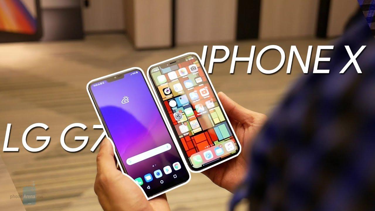 Výsledek obrázku pro LG G7 ThinQ vs iphone x