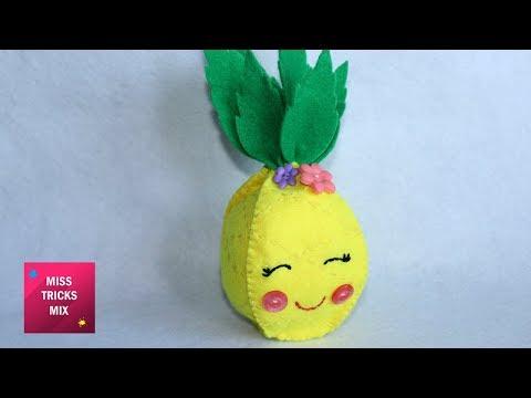 Felt Pineapple Plushie - DIY : How to make adorable felt pineapple / Felt Crafts - Kids Crafts.