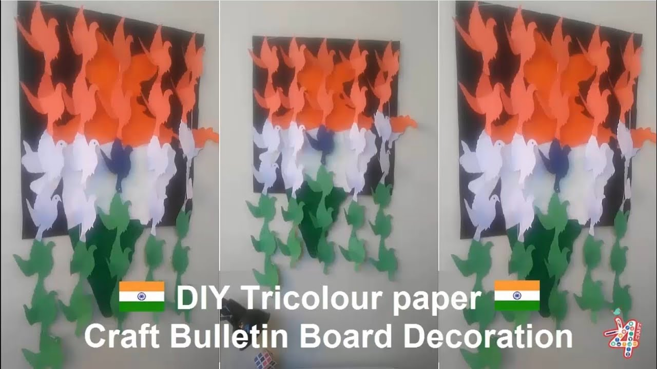 Diy Tricolour Paper Crafts Bulletin Board Decoration For School
