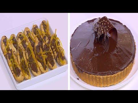 تارت الشوكولاتة بالبندق مع موس الشوكولاتة - بيسكوتي الشوكولاتة بالبرتقال : زي السكر حلقة كاملة