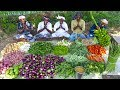 KING of VEGETABLE Recipe | SAMBAR Recipe with Four Side Dish | Veg Village Food Cooking in Village