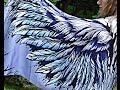 Blue Wings Scarf - 100% silk satin, Elven Clothing, Beach Sarong, Bohemian Shawl, Angel wings