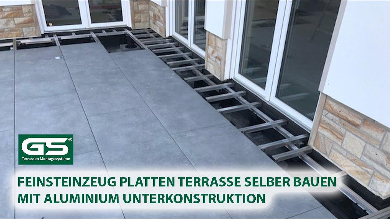 Feinsteinzeug Platten Terrasse selber bauen mit Aluminium Unterkonstruktion
