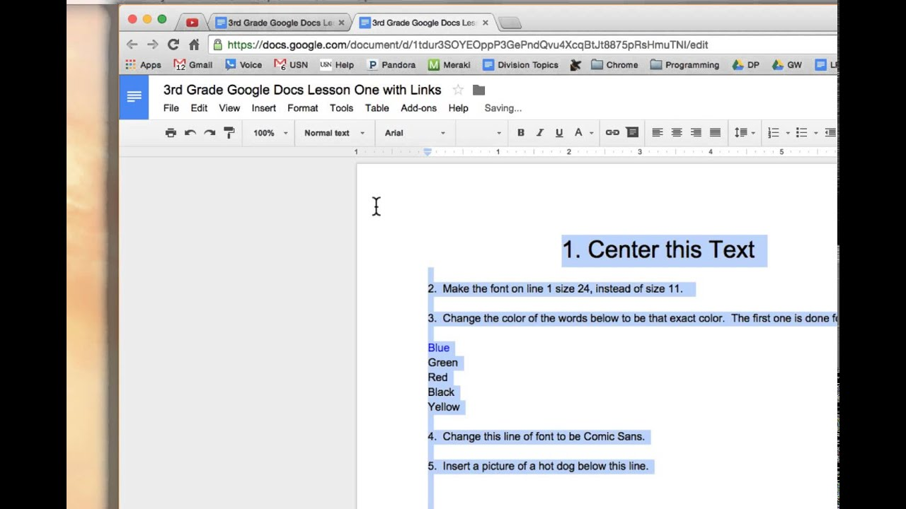 How to color in google docs - Change The Font Color Third Grade Google Docs Lesson 1 Part 3