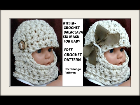 HOW TO CROCHET  a beanie or balaclava ski mask, Baby Hat, Newborn - 6 months