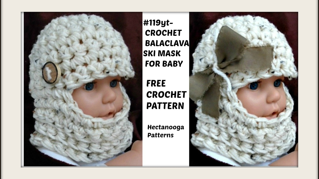 HOW TO CROCHET a beanie or balaclava ski mask, Baby Hat, Newborn - 6 ...