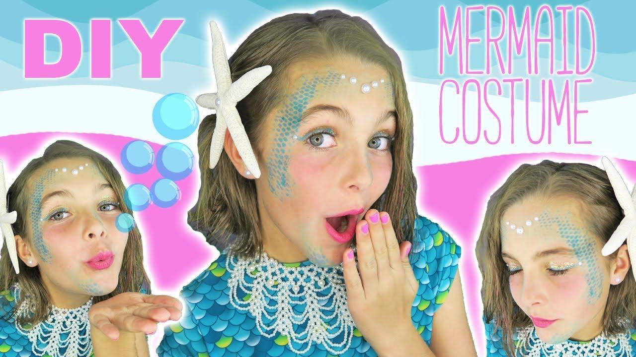 Easy DIY Halloween Costume Mermaid Makeup Tutorial For Kids