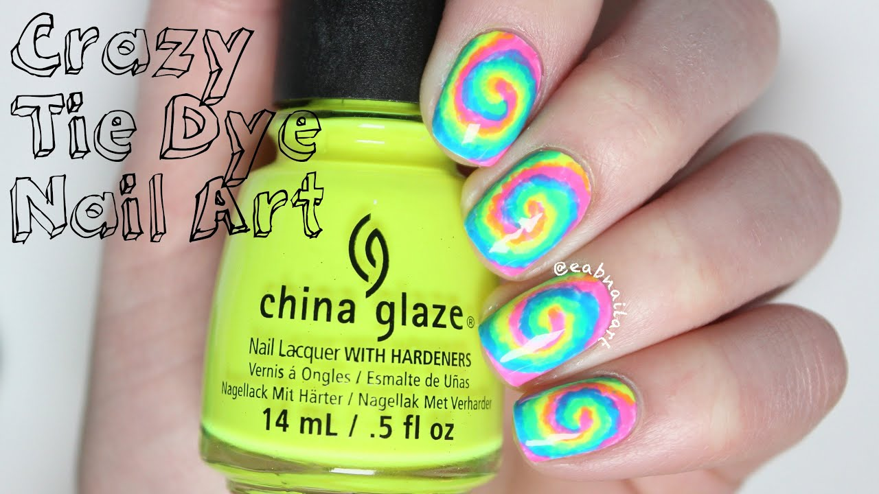 Crazy Tie Dye Nail Art Tutorial - YouTube