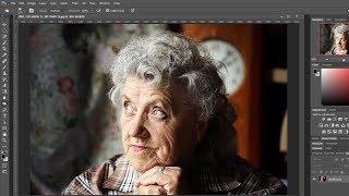 Обработка портрета Бабушки в фотошопе, осветление лица