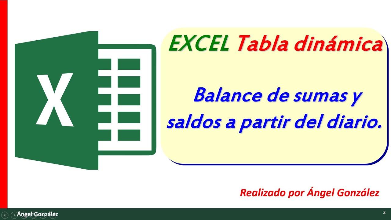Excel. Tabla dinámica. Balance de sumas y saldos a partir del diario ...