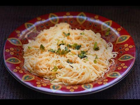capellini with garlic and butter - italian pasta recipe with