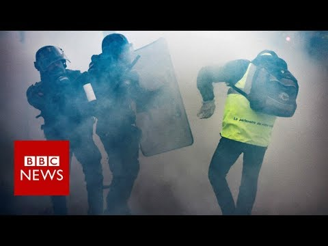 France fuel protests: Tear gas fired in clashes in Paris  -