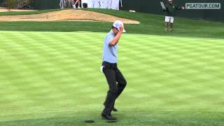 james hahn performing gangnam style on the pga tour at pheonix open 16th hole