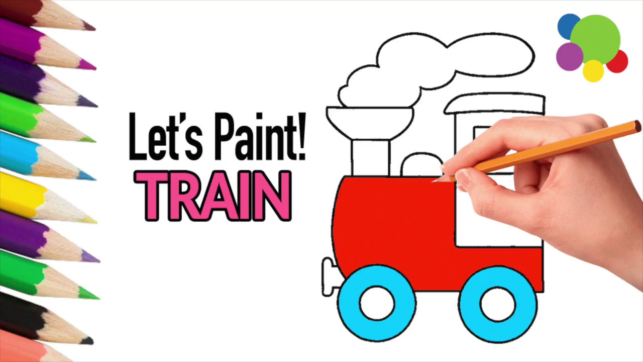 Simple Steps To Draw A Train Painting For Kids Coloring Book