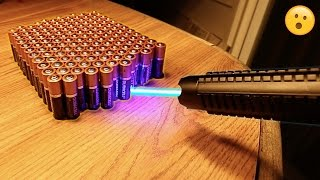 EXPERIMENT MOST POWERFUL LASER vs 100 BATTERIES!! thumbnail
