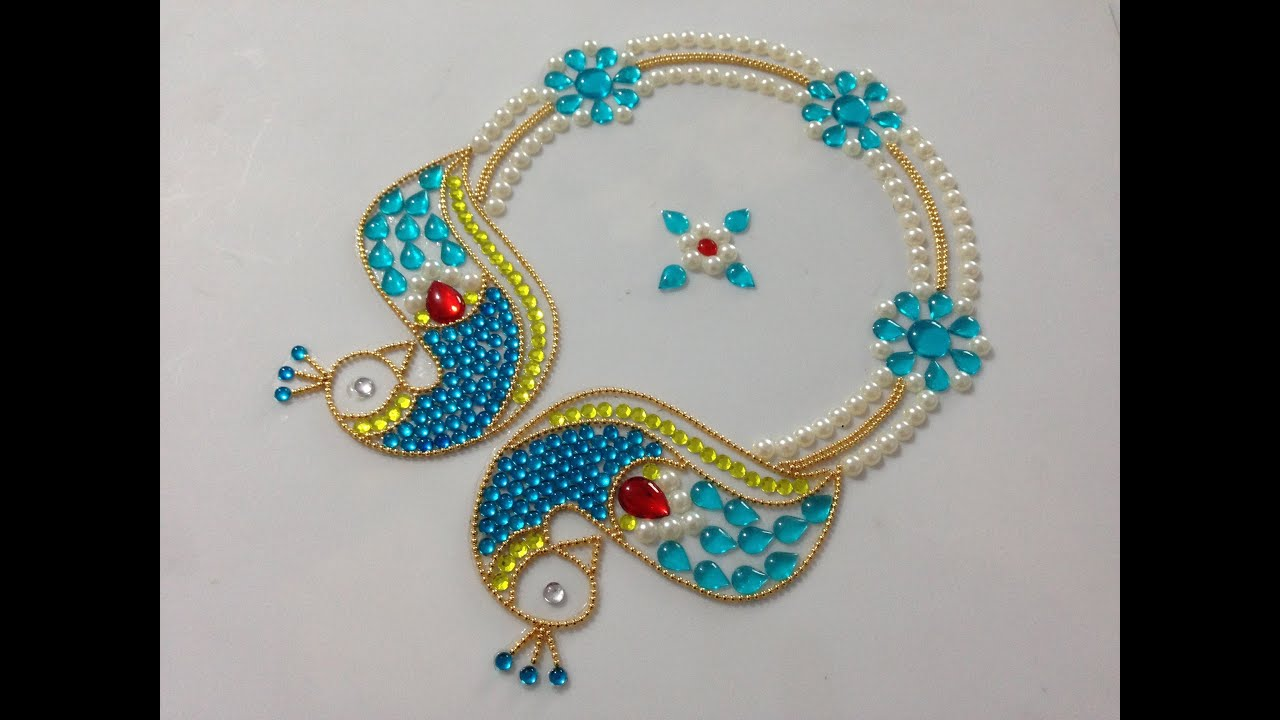 How to make kundan rangoli diy rangoli design beads for Home made rangoli designs
