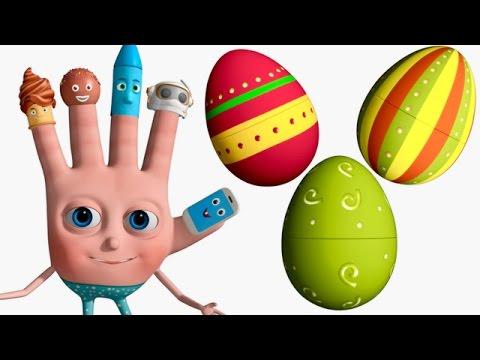 VeeJee Surprise Eggs Finger Family Videos | 3D Surprise Eggs Nursery Rhymes