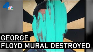 Security Camera Catches Man Defacing George Floyd Mural in Long Beach
