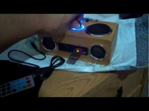 Portable Bamboo SD/USB MP3 Music Speaker with FM Radio (3.5mm Jack)