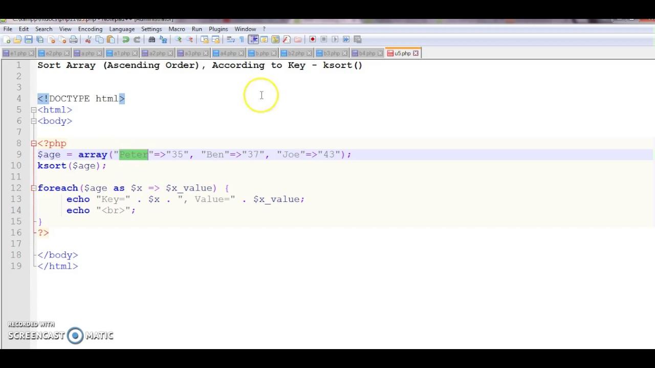 ksort sort associative arrays in ascending order, according to the key