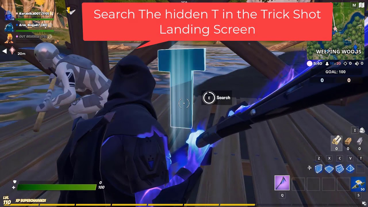 Search The Hidden T In The Trick Shot Landing Screen Fortnite Week 7